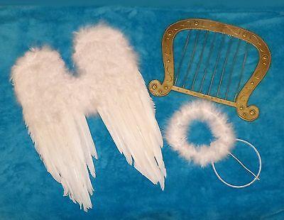 FLÜGEL WEISS HARFE ENGELSFLÜGEL Heiligenschein 40 cm Engelskostüm - Engel Harfe Kostüm