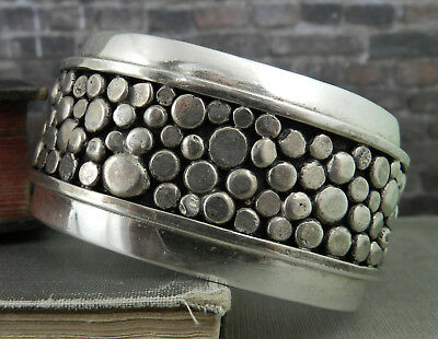 Designer Versions Sterling Silver Dotted River Rock Pebble Wide Cuff -