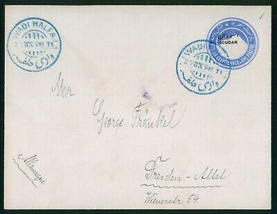 Mayfairstamps south Sudan 1898 Wadi Halfa Blue Cancel Stationery Cover wwo81237
