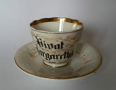 KPM Krister 2 Kaffeegedecke 1884 Tasse Unterteller  Golddekor  Aloys Margaretha