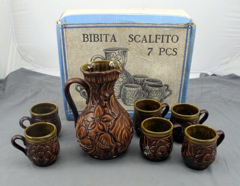 Bibita Scalfito 7 Piece Oil Finish Ceramic Pitcher Mug Cup Set - Made in Italy