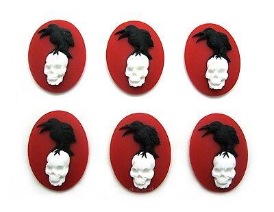 6 BLACK BIRD & SKULL GOTH CROW RAVEN on RED 25mm x 18mm Costume Jewelry CAMEOS