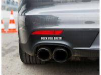 Wei/ß Autoaufkleber Umwelt Feinstaub Sticker JDM Dinger-Design Aufkleber Diesel GEGEN Greta !
