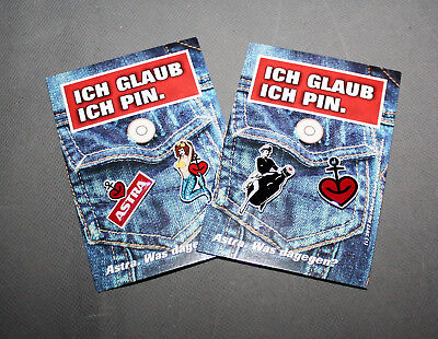 "Astra Bier  Pins Pin Set 4x Anker Herz Pin Up Girl ""Ich glaub ich Pin"" NEU OVP"