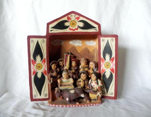 Peruvian Folk Art Pottery VILLAGE MUSICIANS RETABLO DIORAMA DISPLAY FIGURINE