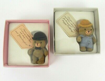 Vintage American Greetings Farmer Bear Bowler Hat Miniature Figure Gift Set of 2 - Wholesale Derby Hats