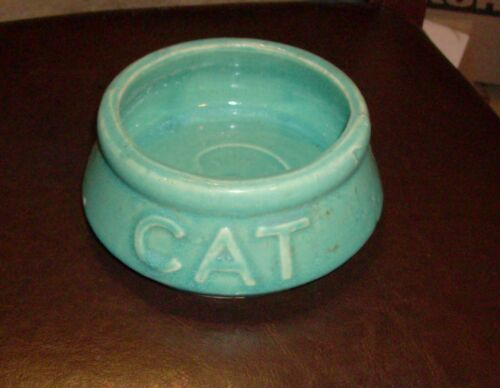 Vintage Turquoise McCoy Pottery Cat Food Dish Bowl 6""