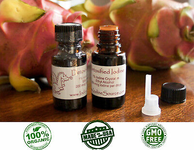 2 Bottles ORGANIC Detoxified Nascent Iodine Cayce Atomic Colloidal Thyroid -