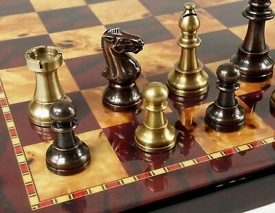 BRASS METAL Antique Bronze Color Staunton French Chess Set 18 Cherry Color Board Bronze Metal Chess