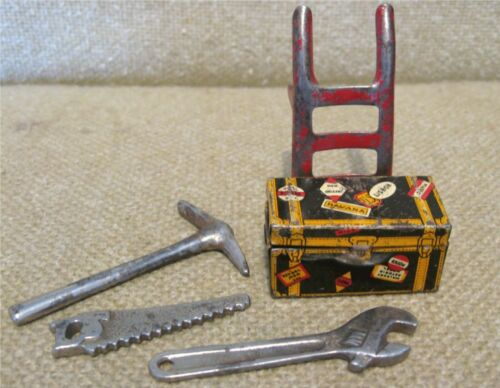 Vintage MARX TRAIN Tin TRUNK & HAND CART w/WOOD WHEELS and MINIATURE TOOLS Toys