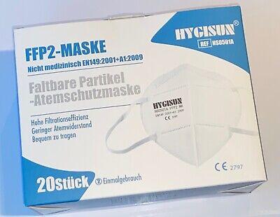 HYGISUN - 20 Stück FFP2 Atemschutzmaske - CE2797 - Schutzmaske einzeln verpackt