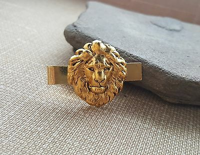 Handmade Oxidized Gold Lion Tie Clip