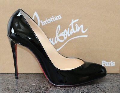 NIB Christian Louboutin BRECHE 100 CLASSIC BLACK PATENT Pumps Shoes 38.5