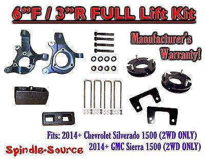 "2014+  Chevrolet Silverado GMC Sierra 1500  6"" inch / 3"" Spindle LIFT KIT  2WD"