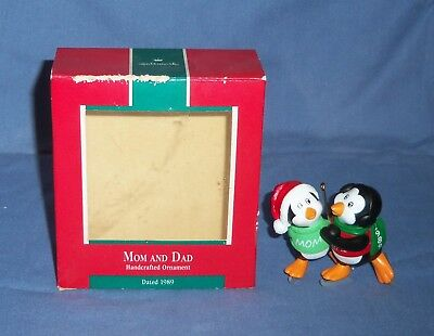 VTG Hallmark 1989 Christmas Ornament Mom & Dad Ice Skating Penguin Couple