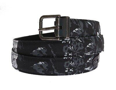 NEW $500 DOLCE & GABBANA Belt Black Linen Leather Waist Floral Print 85cm / 34in