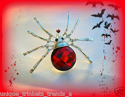VINTAGE STYLE RED CRYSTAL RHINESTONE SILVER SPIDER PIN BROOCH~HALLOWEEN GIFT