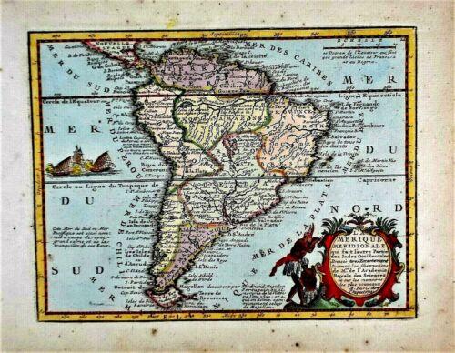 OLD ANTIQUE MAP SOUTH AMERICA c1719 by JACQUES CHIQUET ORIGINAL HAND COLOUR