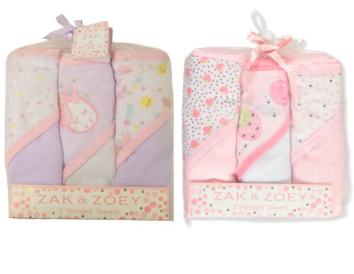 Zak & Zoey Baby Girls Hooded Towels 3-pack BRAND NEW!!!!!