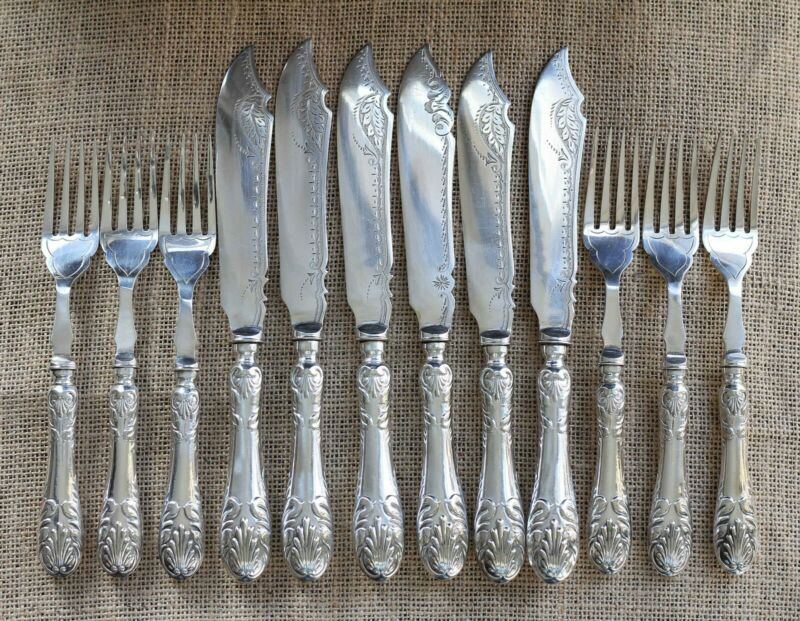 Edwardian Silver Plated Fish Set x Six Persons
