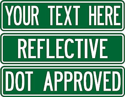 Custom street sign .080 thick 2-sided REFLECTIVE GREEN road sign DOT (Custom Street Sign)