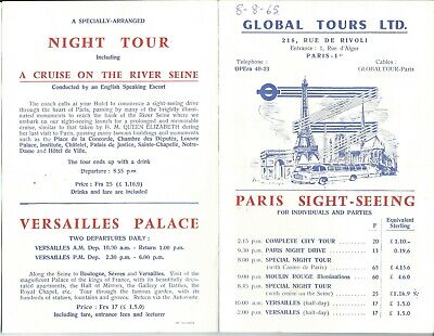 Global Tours Ltd  Paris Sight-Seeing  Tour List Tours available from 1965