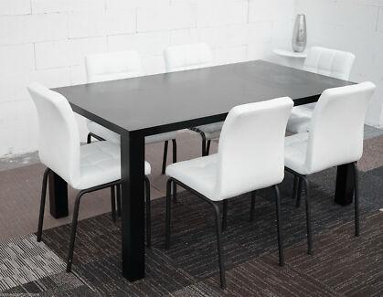 i-Table 7 PCS Dinning Set MDF table PU Leather Seat