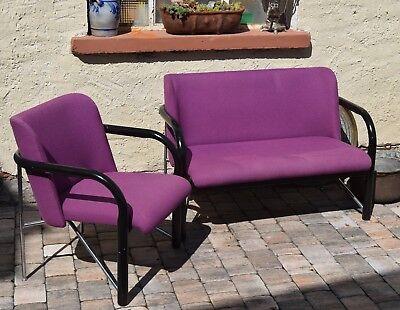 BAUMANN Sitzgruppe 2-sitzer Sofa/Couch und Sessel violett schwarzes Holz/Chrom