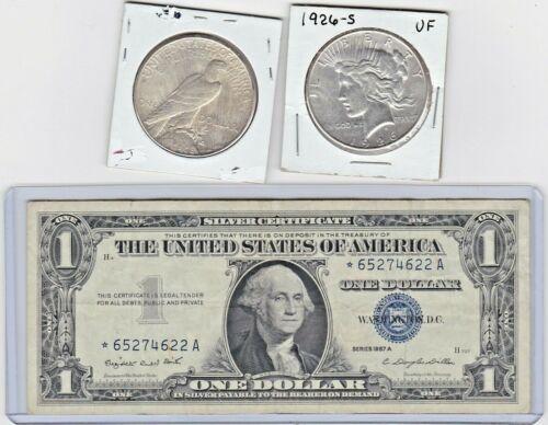 1926-S $1 Peace Silver Dollar, & 1957A $1 Silver Certificate star note lot,1 ea