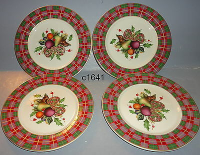 Lenox HOLIDAY TARTAN TIDBIT PARTY PLATES SET/4 new tags RARE