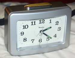 Westclox Silent Tick Analog Alarm Clock Silver / Gray w. Extra Loud Bell LOOK