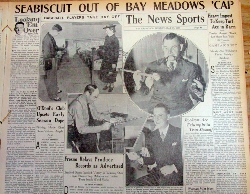 2 1937 newspapers w headline & coverage of SEABISCUIT thoroughbred race horse