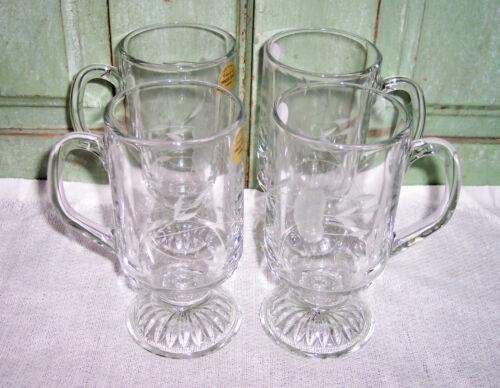NEW Princess House Heritage Crystal Pedestal Beverage Mugs Set of 4 w/Box 504