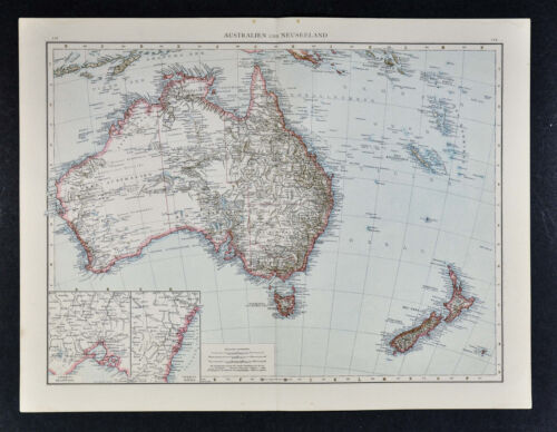 1887 Andrees Map - Australia New Zealand Sydney Melbourne Tasmania Wellington