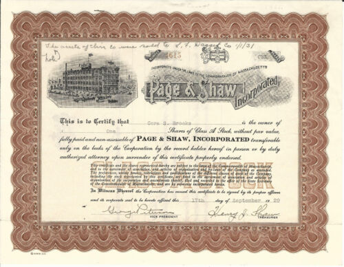 MASSACHUSETTS Page & Shaw Inc Stock Certificate 1929 Chocolate Candy