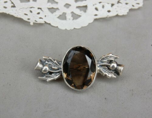 """Faceted Smoky Quartz Thistle Pin Brooch Sterling Silver Scottish 1 1/4"""" x 3/4"""""""