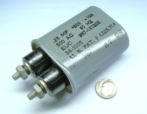 can type 2 post fixed capacitor .25 MF +20 -10 % 800 AC 60 HZ 34-1005 957-197202
