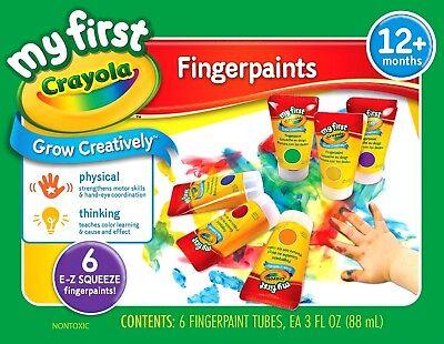 Crayola Finger Paint 81-1429 washable FingerPaint Easy Squeeze Bottles 6 Colors