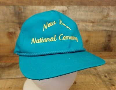 New Bern National Cemetery Hat Cap Misspelled Cementary Adjustable Teal