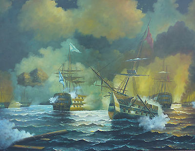 Seeschlacht maritimes Gemälde 134 cm x 103 cm Kriegsschiffe Kanonenboote