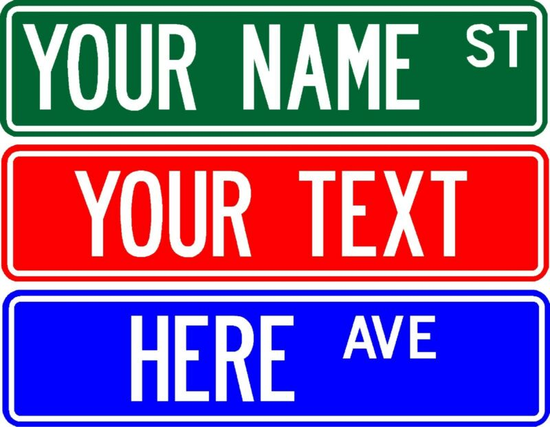 "PERSONALIZED CUSTOM STREET SIGN, 6""X24"" MAKE YOUR OWN SIGN - FREE SHIPPING"