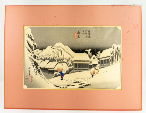 Antique Vintage 20th Century Japanese Woodblock Print Hiroshige Evening Snow
