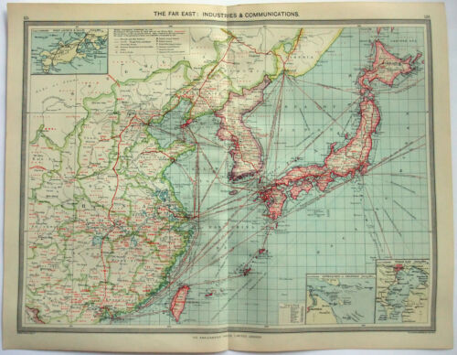 Original Map of the Far East: Industries & Communication c1907 by G Philip & Son