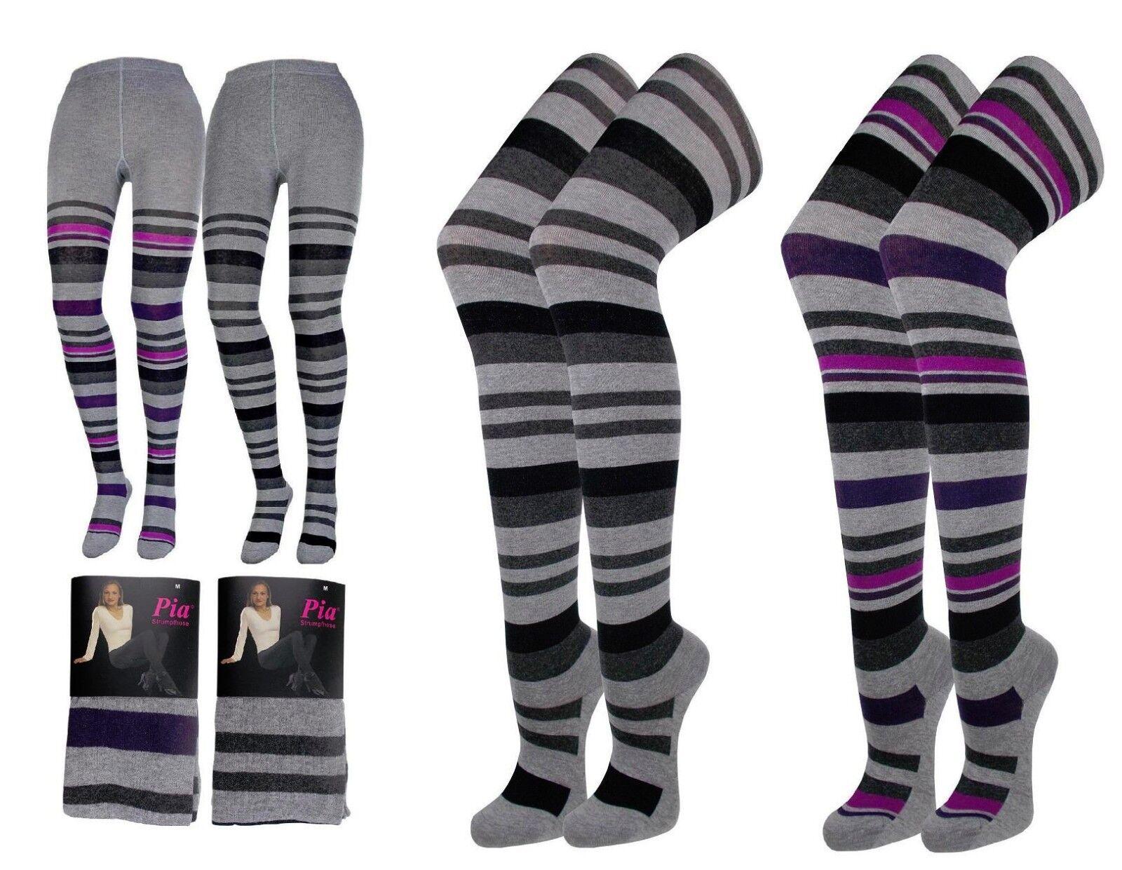 1, 2 oder 4 Stück Damen Strickstrumpfhosen Ringel Strumpfhose Baumwolle  1B4