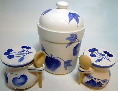 Vintage 3 Piece Blue White Apple Design Canister Set Lids Wooden Spoons