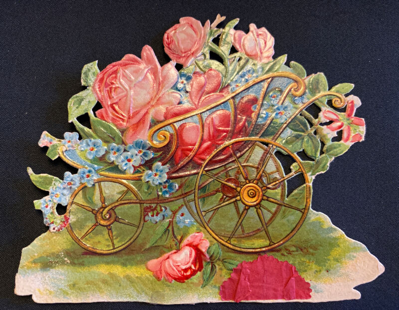 1880s Victorian Die Cut Christmas Valentine's Gold Carriages Roses Garden