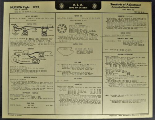 1952 Hudson Commodore Eight Tune Up Chart Wiring Diagram Excellent Original 52