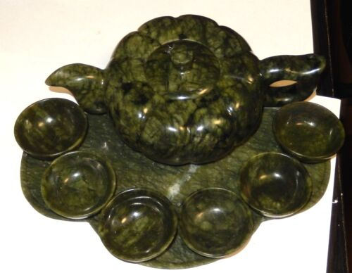 LARGE 9 PIECE CHINESE SPINACH GREEN JADE TEA TRAY SET IN ORIGINAL BOX