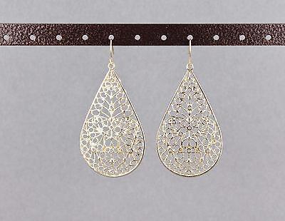 Gold teardrop earrings dangle cut out filigree scroll oval 2.5