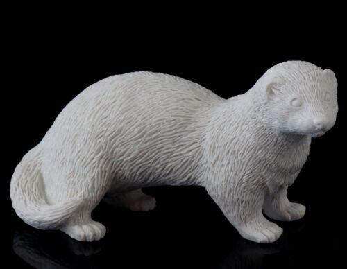 "Ferret White Marble Stone Figurine Pet Animal Sculpture Russian Art Statue 5"""